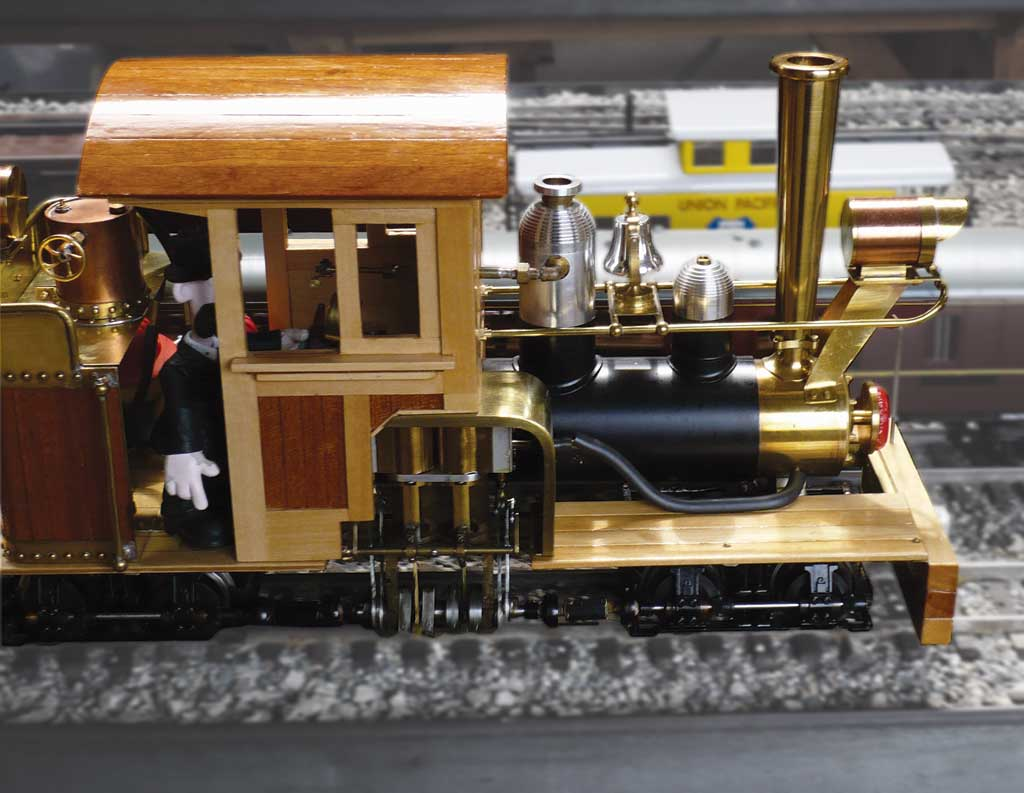 Jim Hadden's scratch-built, 1:20.3-scale Shay with wooden cab and brass fittings.